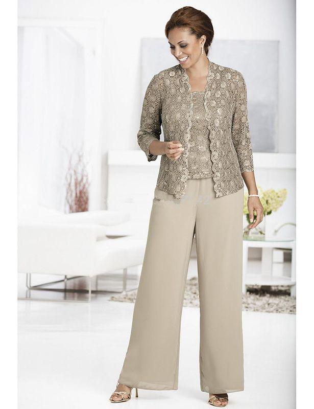 Fabulous Gray Lace chiffon pants suit For wedding women evening Mother Formal Bridal Pants vestido de madrinha 3 Pieces Lace Jacket Custom