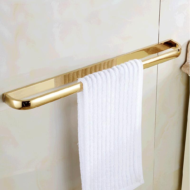 Оптом и в розницу Роскошная полированная золотая латунная настенная современная квадратная вешалка для полотенец