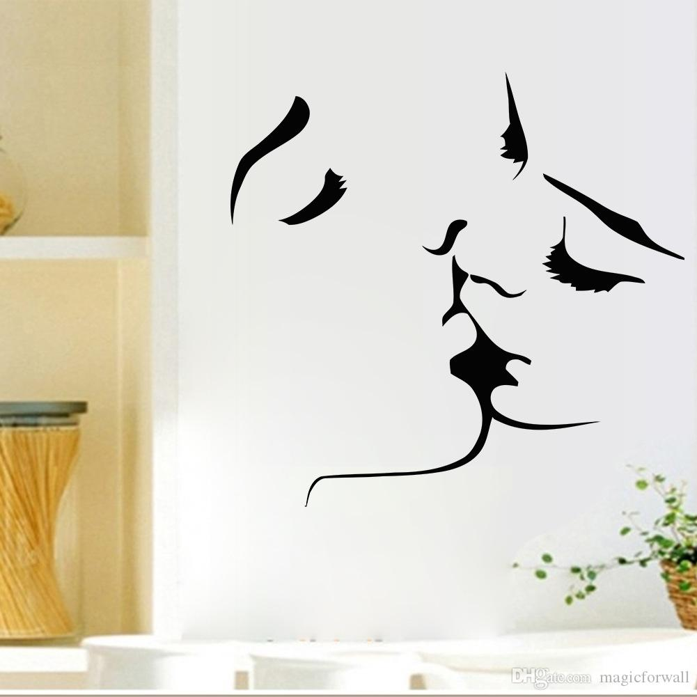 Kissing Wall Art Mural Decal Sticker Valentines Day Romantic Home Decor Living Room Bedroom Tv Background Wall Applique Wall Cling Wall Cling Art