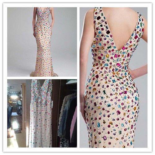 Hot Sale Gorgeous Rhinestones Evening Dresses 2019 V-Neck Sleeveless Floor Length Chiffon Zipper Back Long Party Gowns Custom Made