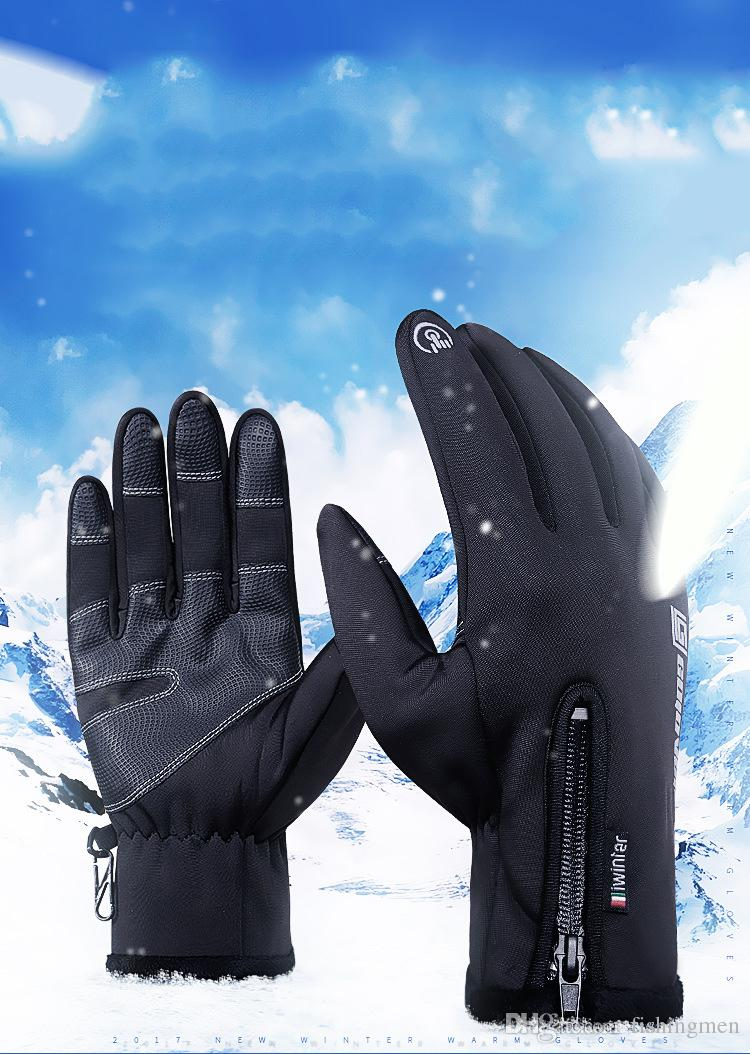 Winter Cycling Bicycle Gloves Thermal Windproof Warm Fleece Gloves Men Women Anti-slip Water Resistant Sport Bike Glove