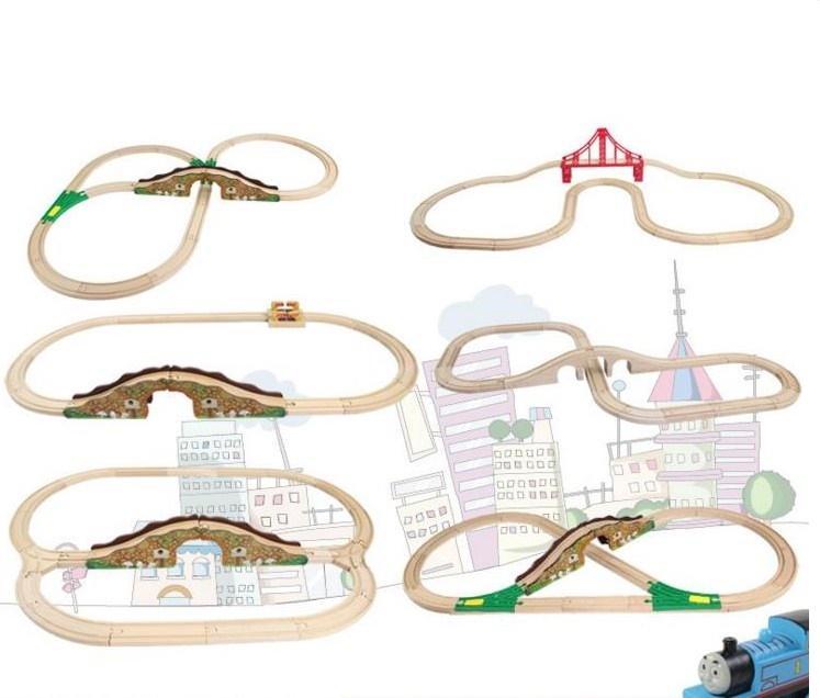 작은 기차 장난감을위한 나무 트랙 8 스타일 너도 밤나무 나무 토마스와 친구 철도 기차 트랙 세트