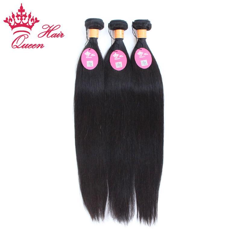 Drottning Hair Products Ingain Virgin Extensions 100% Mänsklig Hår Straight Queen Hair Weave, 3pcs / Lot 12-28INCH