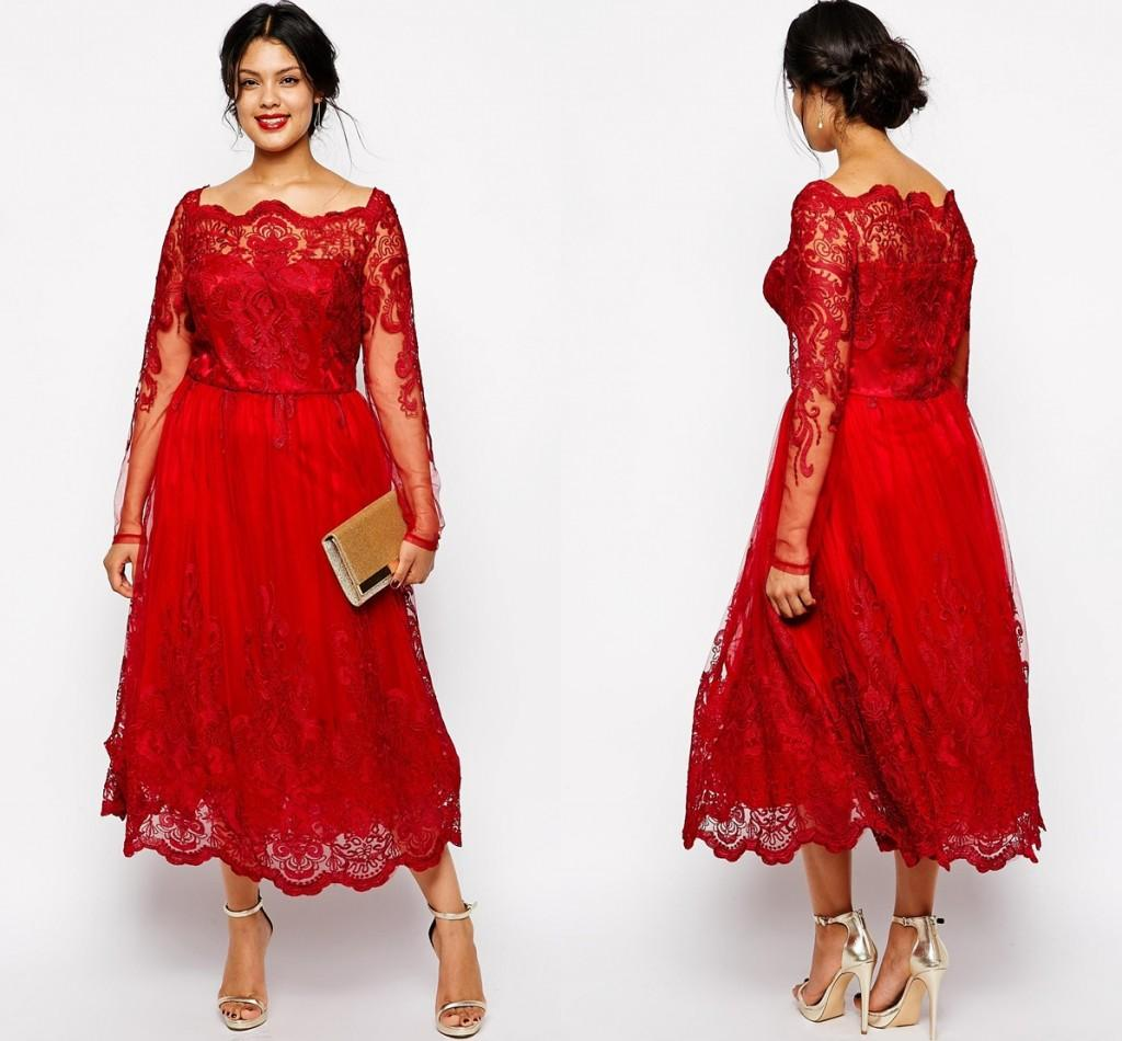 Red Full Lace Plus Size Formal Dresses Sheer Bateau Long Sleeve Evening  Gowns Tea Length A-Line Mother Of The Bride