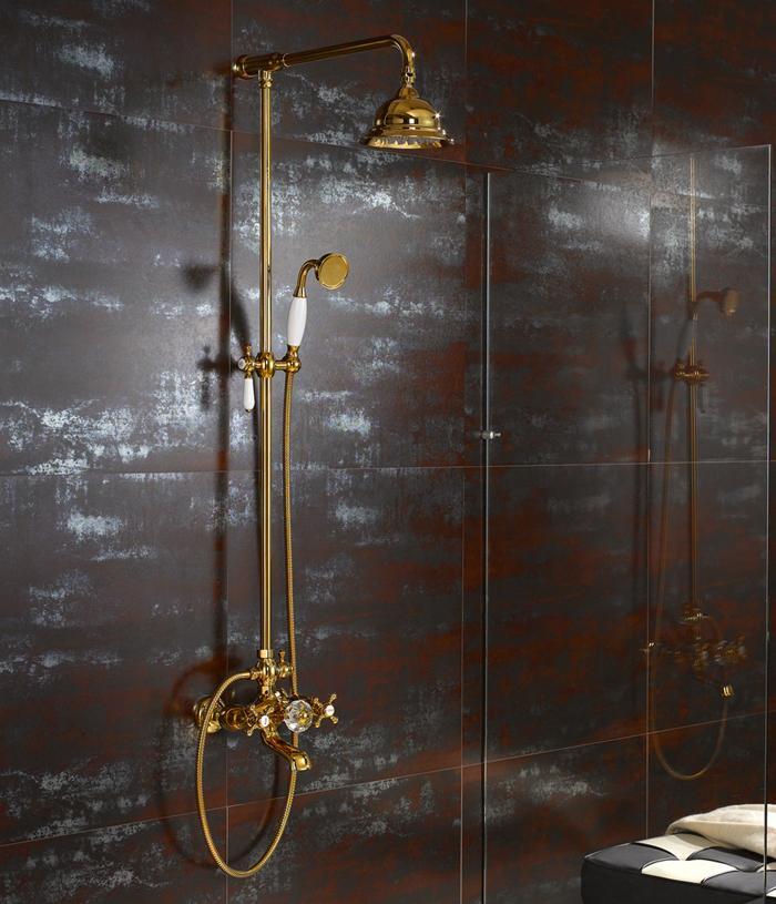 Frete grátis pvd 24k clour ouro Rainfall chuveiro e torneira torneira misturadora