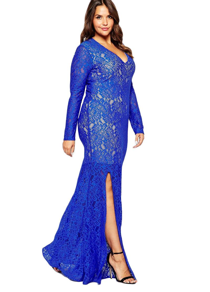 Cheap Split Evening Dresses Long Sleeves 2016 Black/Blue Plus Size ...