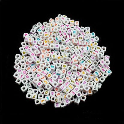 1000 pcs cubo branco + coração colorido coração, miçangas 7 mm bom para crianças artesanato frete grátis