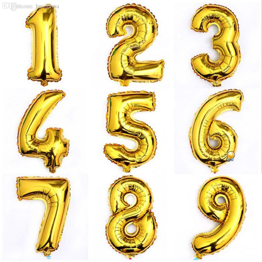 Fête en gros-1pcs 16inch Gold 0-9 Numérique chiffre numérique Ballon Aluminium Feuille d'aluminium Ballons d'hélium AnniversaireDecoration Célébration Factory Price Expert