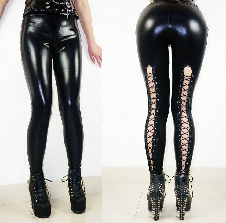 2015 новых женщин сексуальное женское белье искусственной кожи черный зашнуровать леггинсы мокрый вид клубная одежда мода готические брюки дамы бесплатная доставка