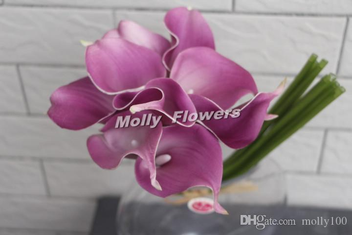 2019 14 Inch Real Touch Purple Calla Lily Bouquets Light Dark