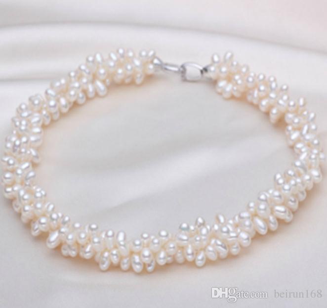 4-5мм капли воды форма белый многослойный природных пресноводных жемчужное ожерелье 17 дюймов