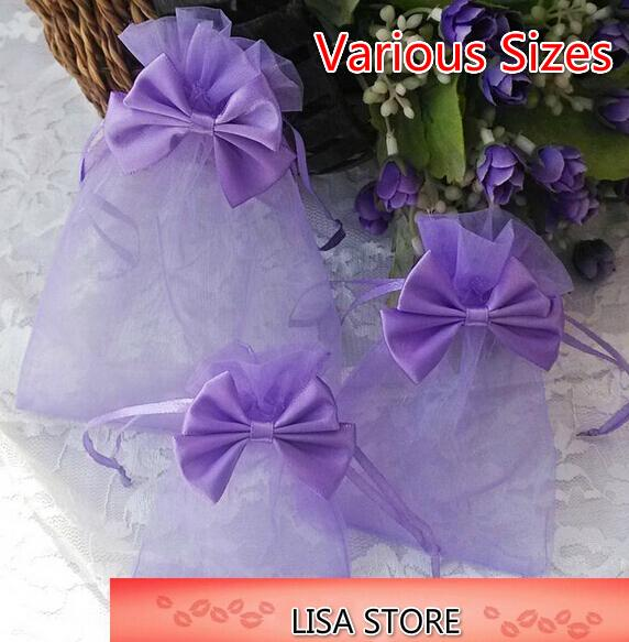 Free Ship 100pcs Various Sizes Organza Bags with Flowers Bowknot Business Promotional Packaging Bag Sachet Candy Beads Christmas Gift Bags