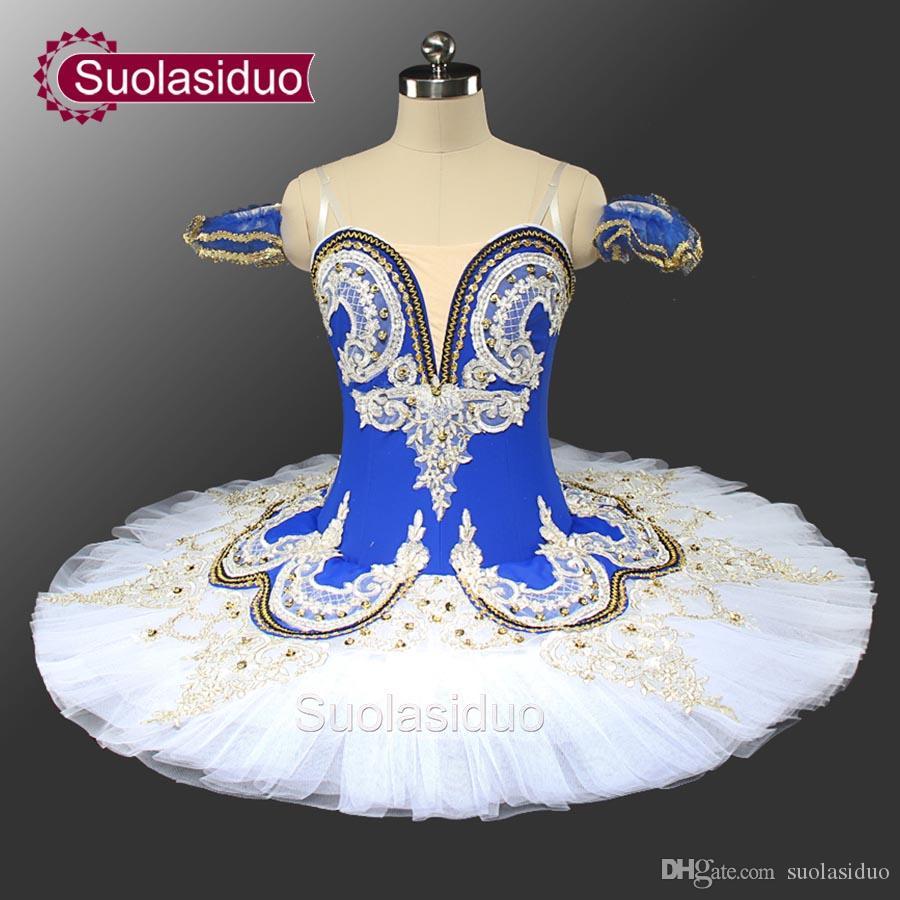 Adulto azul pássaro balé profissional palco tutu azul e branco clássico desempenho de balé traje personalizado sd0028