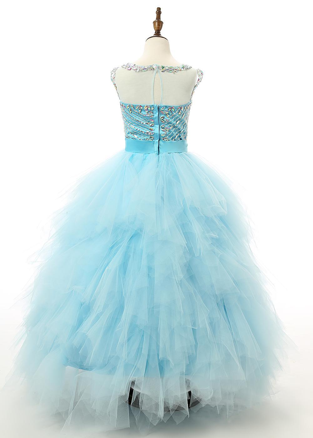 Light Sky Blue High Collar Pageant Dresses For Girls Sleeveless ...
