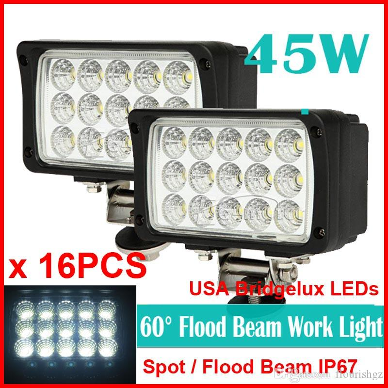 "16PCS 6"" 45W 15LED*3W USA Bridgelux Chips LED Driving Work Light Offroad SUV ATV 4WD 4x4 Spot / Flood Beam 9-32V 3900lm Rectangle High Power"