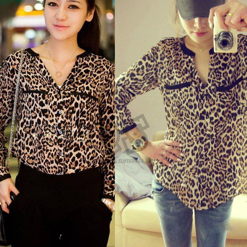 2015 New Fashion Women Wild Leopard Print Chiffon Blouse Lady Sexy Long Sleeve Top Casual Shirt Loose V-neck Leopard Blusas Q232