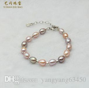 Wholesale beautiful Ms. 7-8mm multicolor rice-shaped natural pearl bracelet SL033003