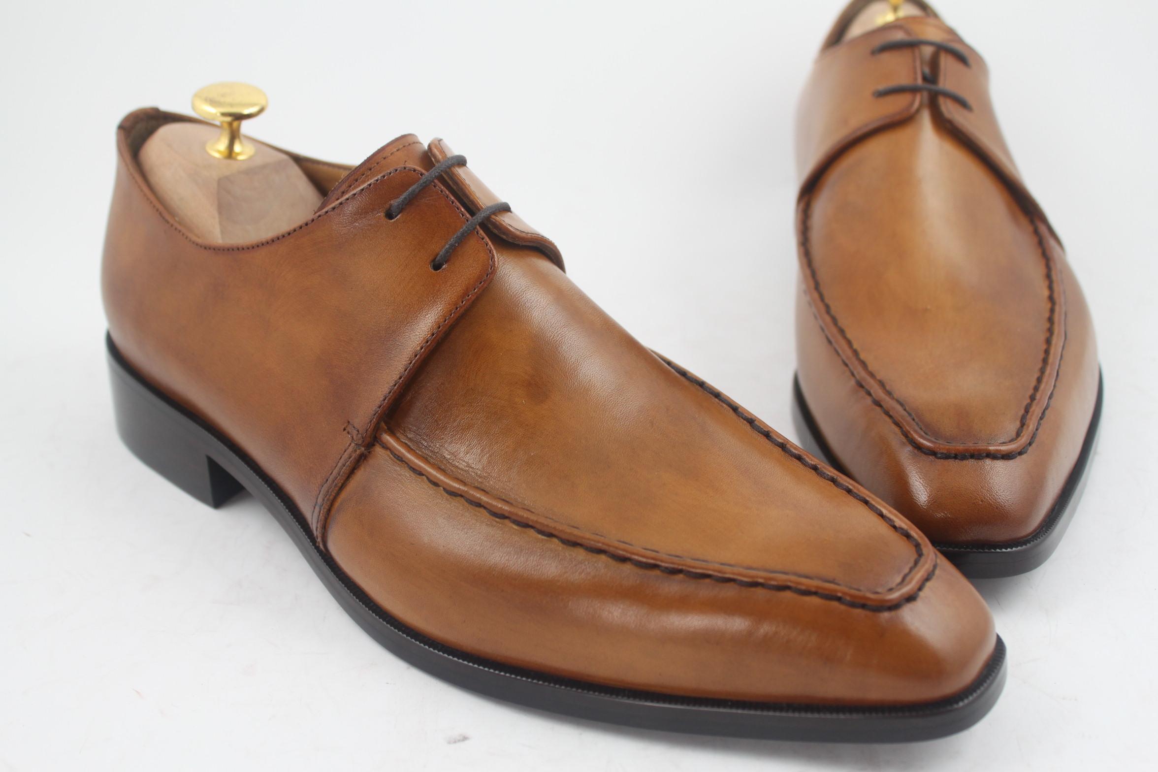 남자 드레스 신발 남자 신발 Oxfords 신발 사용자 정의 수제 신발 정품 송아지 가죽 더비 신발 색상 브라운 HD-057