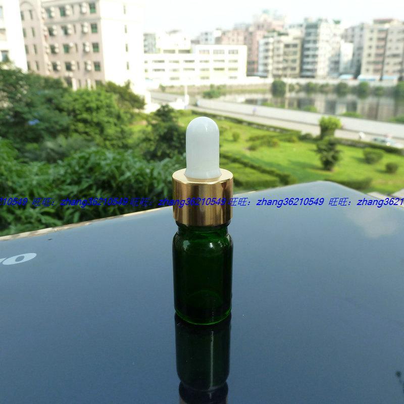 5ml 녹색 유리 에센셜 오일 병 알루미늄 반짝 이는 골드 dropper cap. 오일 바이알, 에센셜 오일 용기