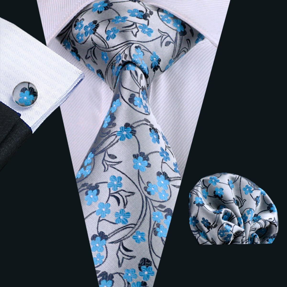 Tie for Men Hankerchief Cufflinks Set Blue Floral Pattern Mens Jacquard Woven Business Necktie 8.5cm Width Casual Set N-0999