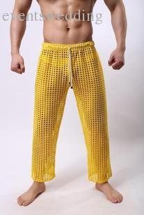 Wholesale-Sexy Mens Pants Sleepwear See Through Big Mesh Lounge Pajama Bottoms Loose Trousers Low Rise Couples Gay Male Fetish Sex Wear