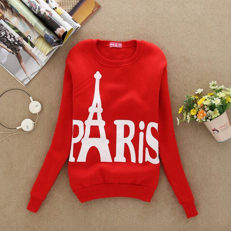 2016 봄과 가을 복장 운동복 여성 파리 에펠 탑 양털 인쇄 스포츠 긴 소매 옷 스포츠 4 색