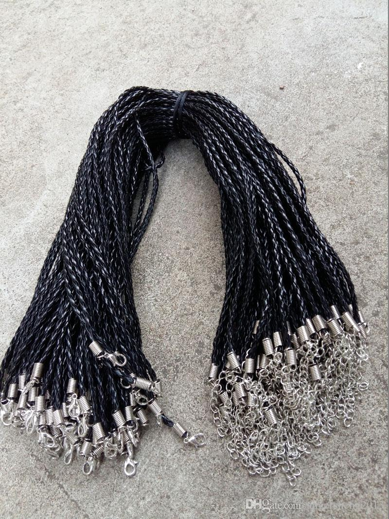 20'' 22'' 24'' 3mm Black PU Leather Braid Necklace Cords With Lobster Clasp For DIY Craft Jewelry