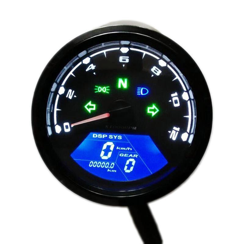 12000 RMP kmh/mph Universal Motorcycle Tachometer LCD Digital Odometer Speedometer Gear indicator Scooter Golf Carts ATV