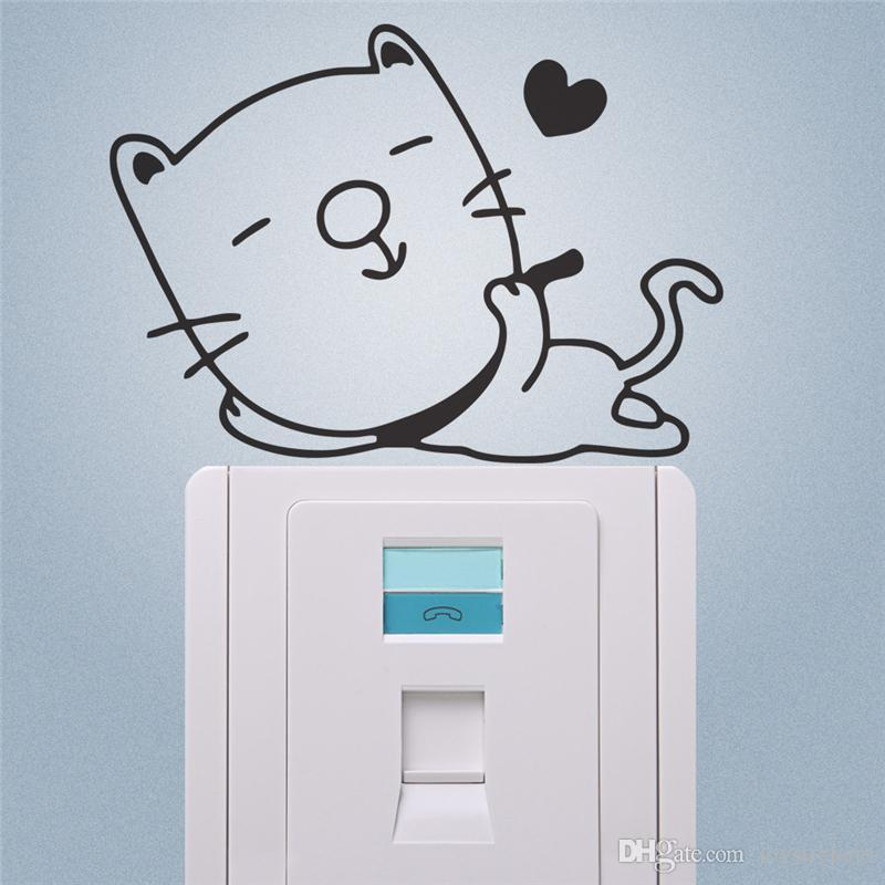 Freeshipping Cute Lazy Cat Switch Stickers Cartoon Wall Decoration Diy Vinyl Adesivo De Parede Home Decal Mual Art Poster