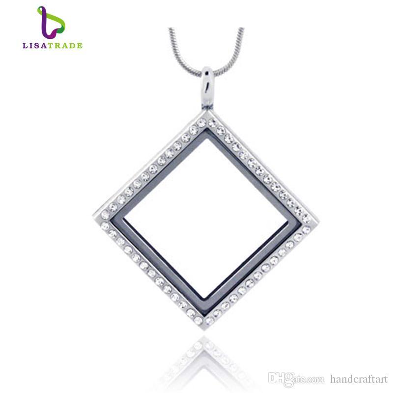 2016 Hot !! Silver Diamond Glass Glass Pływający Charm Locket Stop Cynkowy 30 * 30mm (Łańcuchy dołączone za darmo) LSFL014-1