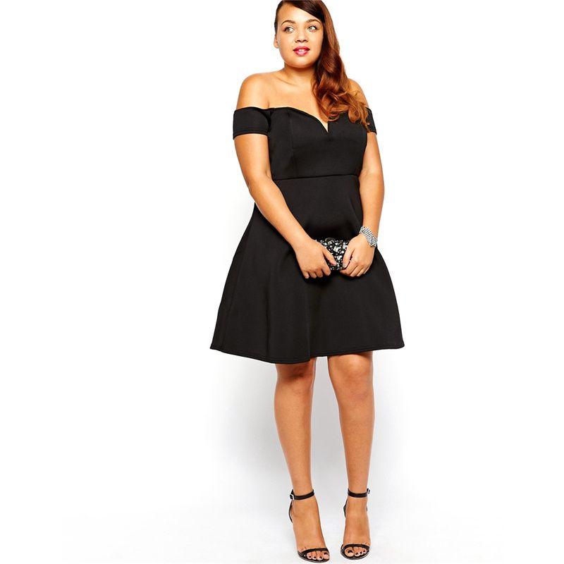 Women Black Dresses Plus Size Dresses Off Shoulder Womens Casual Clothing  Cotton Blend Fabric Knee Length Solid Color Slim Fit 7308 Petite Dresses ...