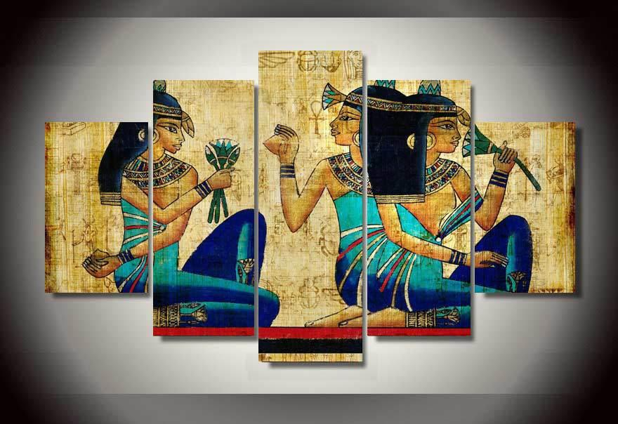 5 Panel Framed Painting papyrus art Painting on canvas room decoration print poster picture canvas egyptian arts Free shipping