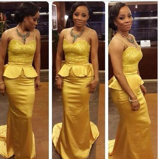 2016 골드 섹시 댄스 파티 드레스 스파게티 핸드백 Peplum Waist Celebrity Dresses 미식가 드레스 나이지리아 아랍어 싸게 파티 드레스