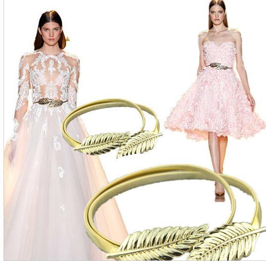 Barato de alta calidad en stock Ajustable Zuhair Murad Matching Gold / Silver Deja Cinturones para vestidos de novia Cinturón de faja nupcial Shipsing