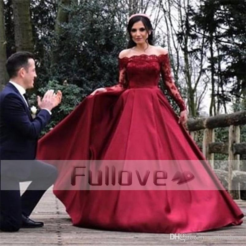 Discount Elegant Burgundy Lace Wedding Dress 2017 Long Sleeve Lace ...