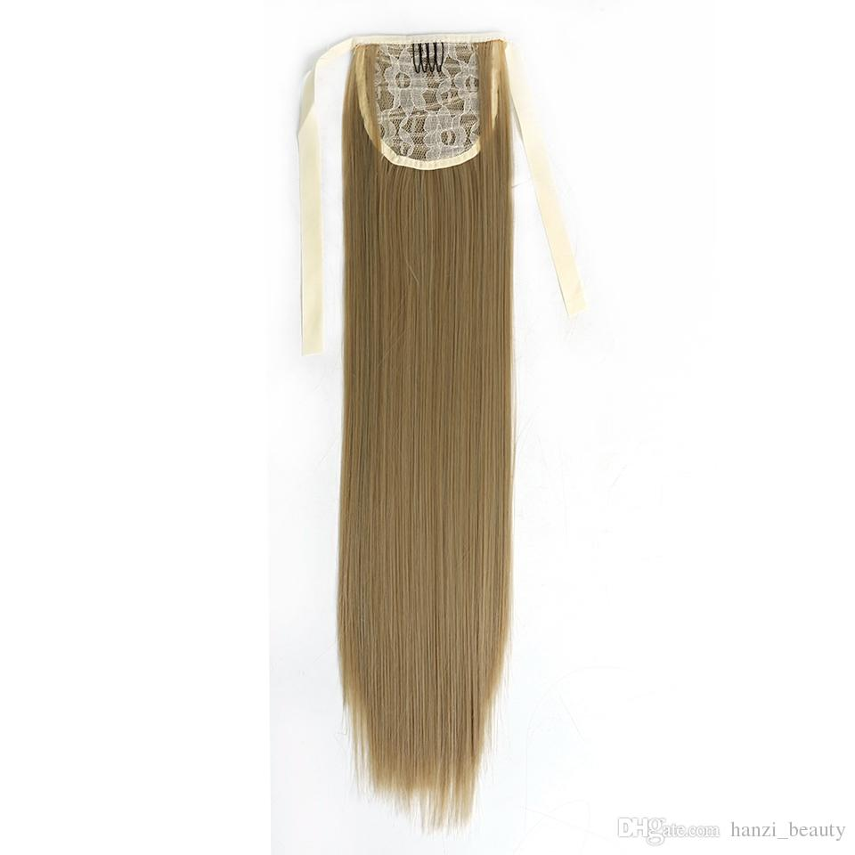 "22"" High Temperature Fiber Silky Straight Synthetic Clip in Drawstring Ponytail Hairpieces for Women"