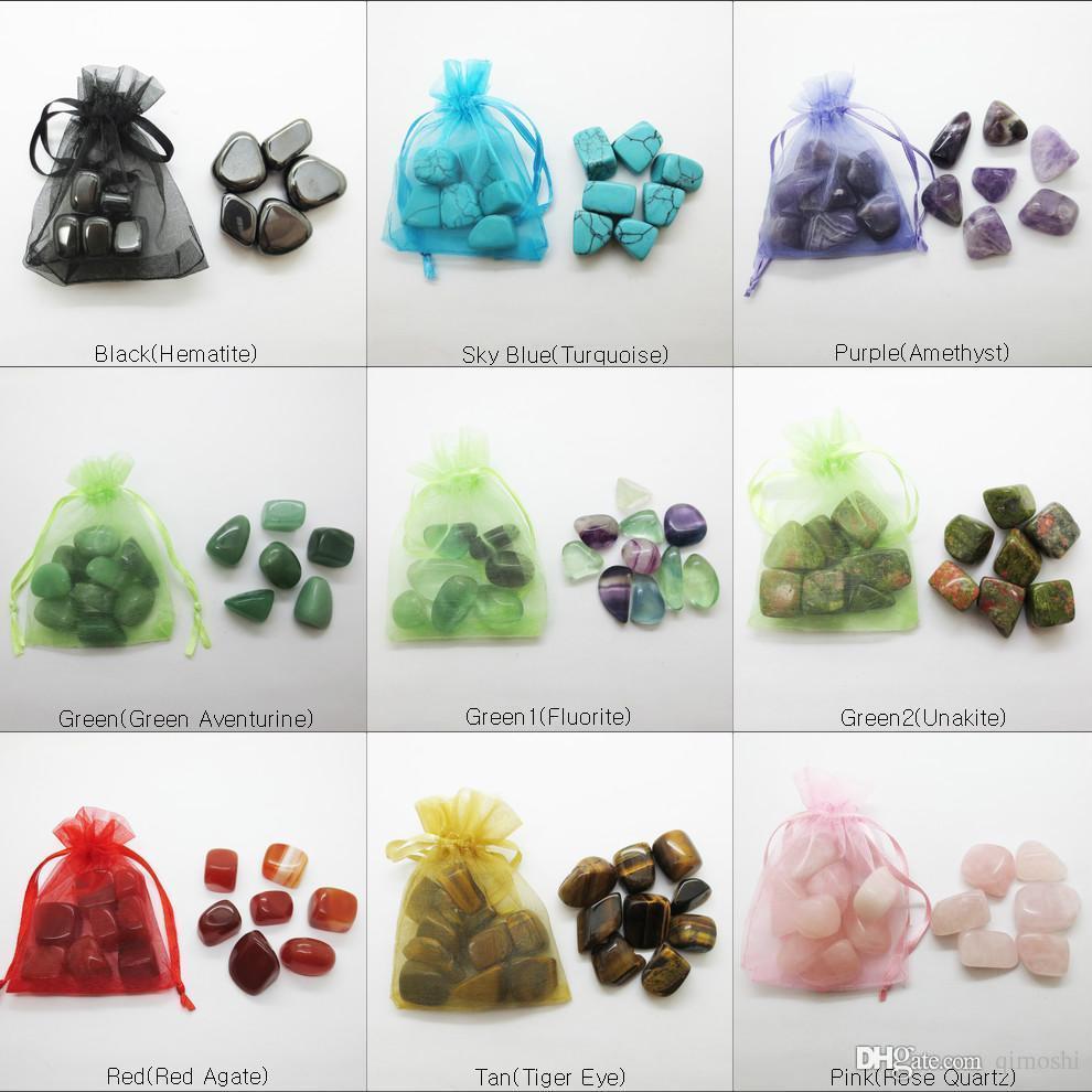 حار بيع الحجر الطبيعي 15 ~ 25 ملليمتر الفيروز العقيق كريستال الجمشت هبط النظامية في الحقيبة لشفاء الريكي متمنيا محظوظا