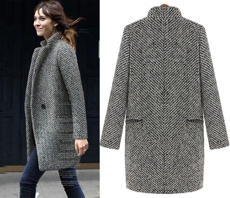 Autumn designer women coats slim thick long-sleeved jacket winter coats woman plaid long coat clothing jackets for women
