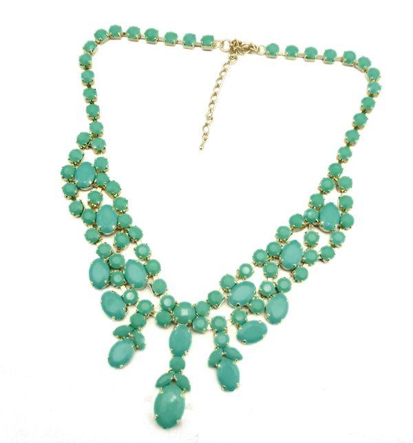 Nova Moda Ouro Resina De Metal Gem Stone Encantador Gargantilha Bib Colar 8colors mulheres jóias