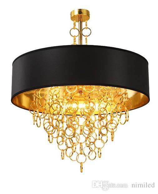 Lustres modernos com Preto Drum Shade Pingente de Luz Anéis de Ouro Gotas em Luminária Luminária de Teto Redondo LLFA