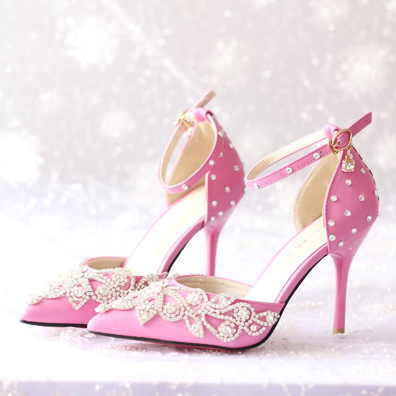 Pointed Toe New Women High Heels Prom Wedding Shoes Lady Crystal Platforms Rachel White Bridal Shoes with Buckle Strap