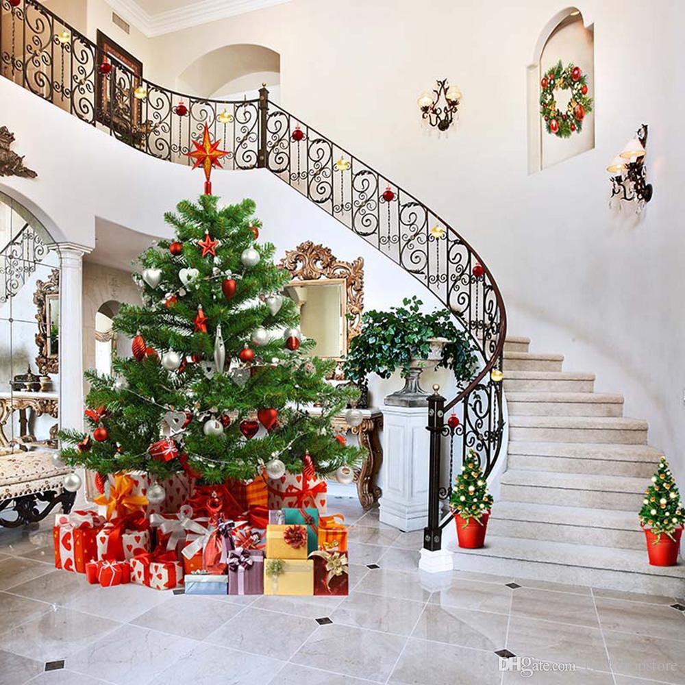 Vinile Fotografia Fondali Indoor Scale Decorato Casa Albero di Natale Famiglia scatole regalo Merry Xmas Holiday Studio fotografico sfondo