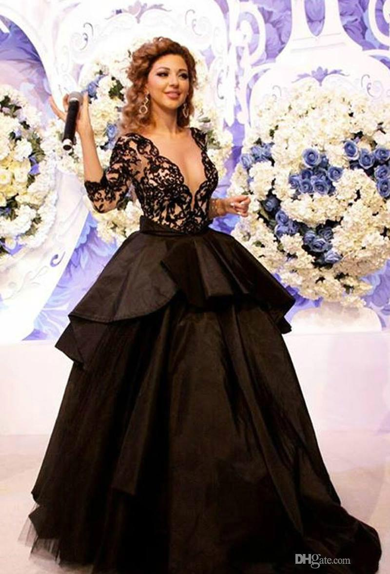 2015 See Through Sexy Lace Celebrity Dresses Myriam Fares Dresses Black V Neck Ball Gown Evening Floor Straight Red Carpet Dress