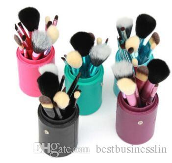 12 Pcs/Set Makeup Brush Set Drum Make-up Brushes Portable Natural Handle Beauty Tools Cosmetic Brush With Leather Cylinder Cup Holder