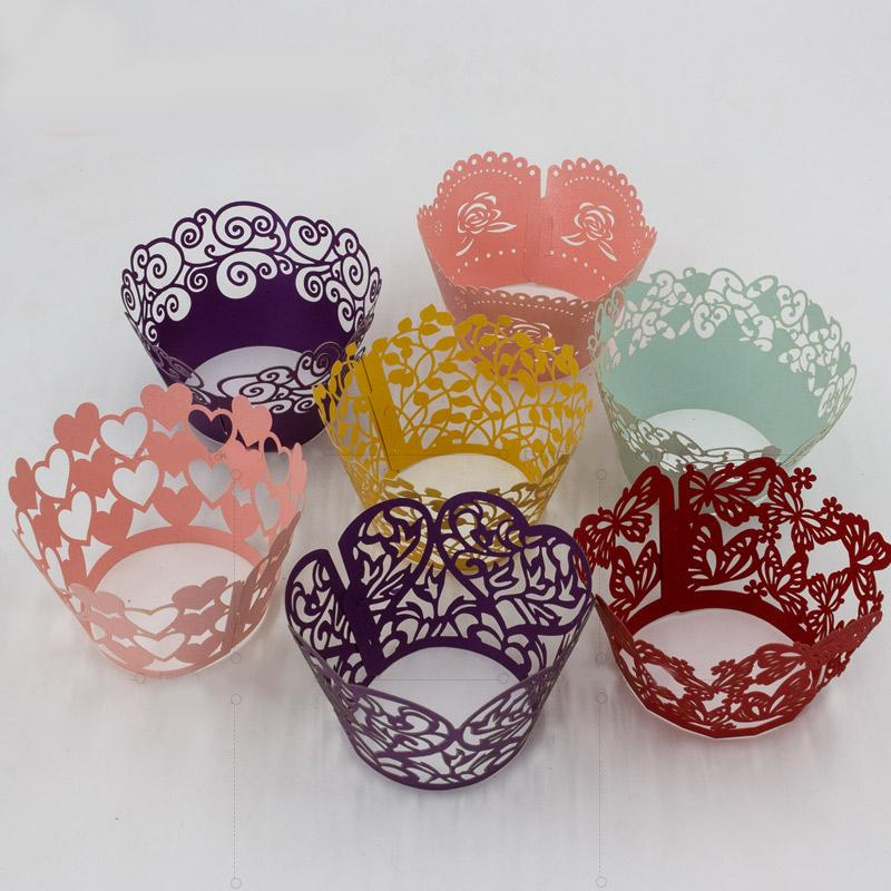 Color Lace Decor Cupcake Wrappers Liners Multi Colors Cake Cup Wraper Laser Cut Christmas Party Decoration SD823