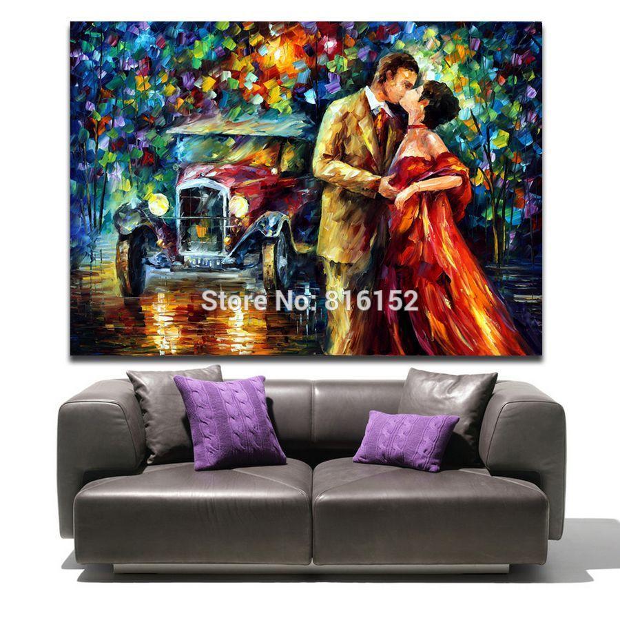 100 % Handpainted 팔레트 나이프 유화 로맨틱 연인 키스 거리 캔버스 벽 예술 호텔 사무실 홈 장식