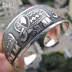 Wholesale-2016 Weinlese-tibetanisches Tibet Elefant Silber überzogene Armband-reizend elegantes rundes Metall Stulpe-Armband-Frauen Schmuckgeschenke 1Pcs
