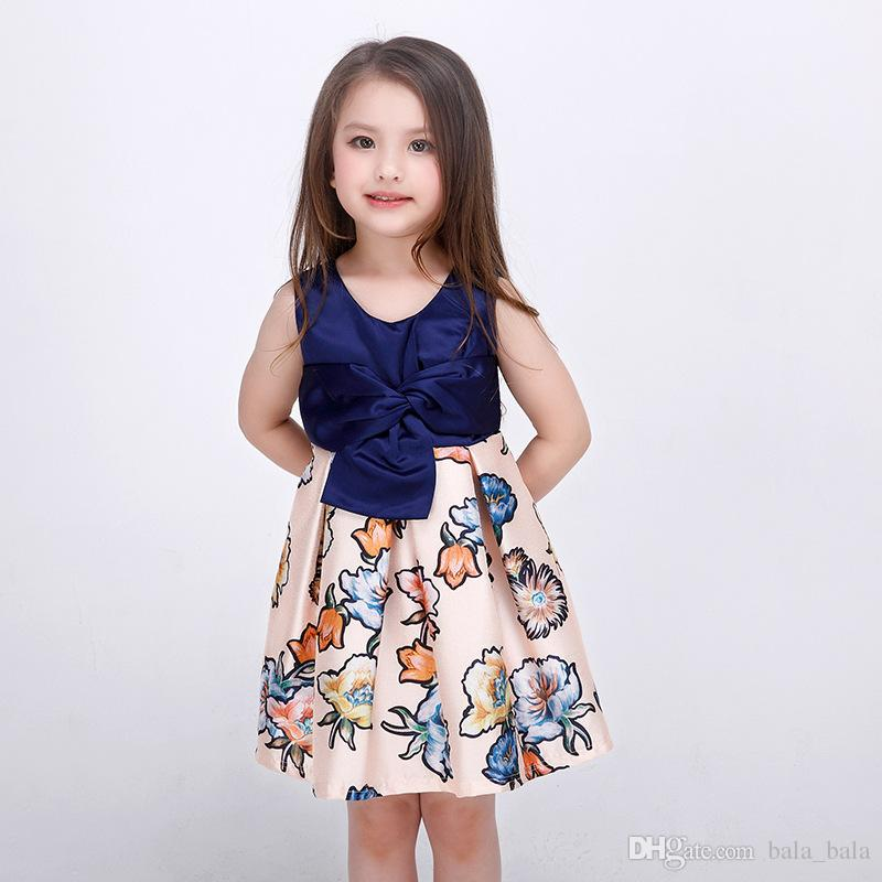 b6e68ece8560 2019 2016 Children Girls  Europe Style High End Bowknot Dresses ...