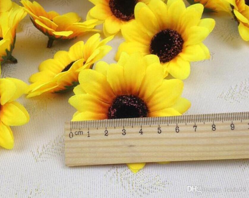 1000 pz / lotto 2.8 '' Fiori Artificiali Seta teste di girasole Fiore Simulazione fiori Decorativi per la Festa Nuziale Casa All'ingrosso