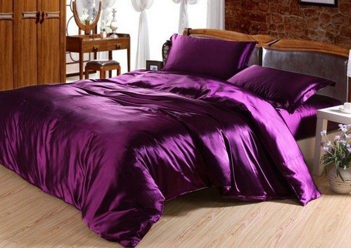 مجموعة 7PCS البنفسجي الغامق الحرير الحرير الفراش لحاف لحاف ورقة كاليفورنيا الملك غطاء السرير ملاءات السرير تركيبها في حقيبة الملكة حجم المفرش التوأم